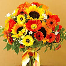 Sunflower Wedding Bouquet Orange Sunflower Wedding Bouquet See To World