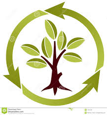 tree with leaves and recycling symbol stock vector image 13815321