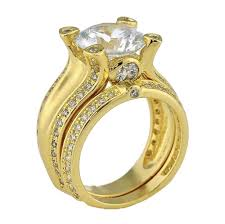 engagement and wedding ring set 3ct brilliant cut cz cubic zirconia cathedral yellow gold plated