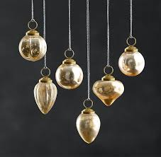 handblown glass mini ornaments set of 6 gold
