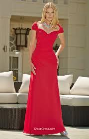 simple cap sleeves ruched long red chiffon bridesmaid dress