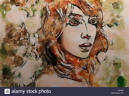 Colorful Painting by Art Colorful Painting Beautiful Face With Red Long Hair On A