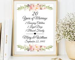 20th anniversary present 21 years married etsy
