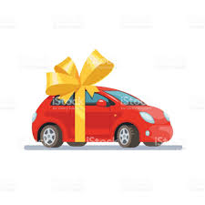 car gift bow vector illustration car with bow flat style on white