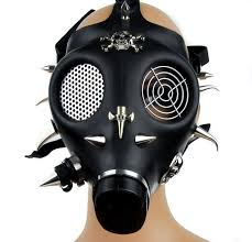 Halloween Gas Mask Costume Spike Skull Cross Gas Mask Gothic Techno Halloween
