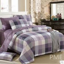 Plaid Bedding Set Romantic Quality Purple Plaid 100 Cotton Teen Bedding Sets