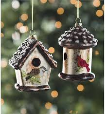 glass birdhouse ornaments set of 2 decorating the tree