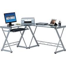 Techni Mobili L Shaped Glass Computer Desk With Chrome Frame Techni Mobili Computer Desk Clear Rta 3802 Staples