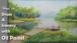 draw riverside jungle landscape pastel
