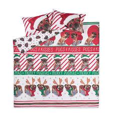 christmas pugs u0026 kisses bedding range duvet covers george at asda