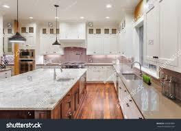 modern epicurean kitchen beautiful kitchen new luxury home wrap stock photo 360087884