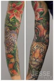 jesse rix tattoos tattoos animal rain forest sleeve
