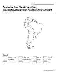 america climate zones map south american climate zones map worksheet by marcy edwards tpt
