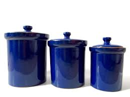 cobalt blue ceramic canister set made in italy kitchen