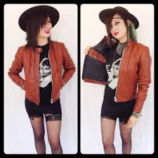 brown leather motorcycle jacket vintage 70s womens small cafe racer motorcycle jacket brown