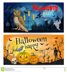 artistic posters and cards for happy halloween stock vector