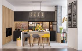 kitchen accent furniture 3 open layout interiors with yellow as the highlight color