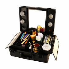 Makeup Mirror Lighted Pro Mini Lighted Studio Cosmetic Makeup Case Station Vanity Mirror