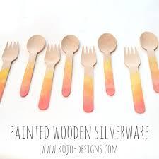 bamboo flatware watercolor painted wooden silverware