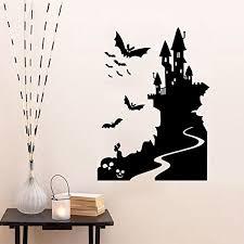 love tm happy halloween bat castle wall sticker window home