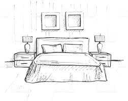 hand drawn sketch linear sketch of an interior sketch line