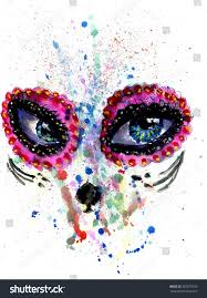 halloween softball background halloween sugar skull makeup watercolor stock illustration