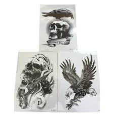 3pcs flying eagle henna fake tattoo gun skull 3d waterproof tattoo