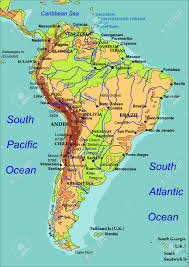 map of america with country names map of south america the names of countries cities and rivers