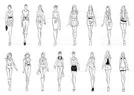 fashion models shows everyday sketch icons stock vector