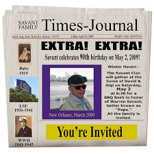 newspaper invitation template newspaper 90th birthday invitation