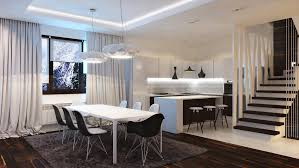 modern black and white kitchen design ideas with dining space