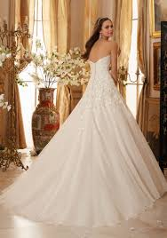 Wedding Dress Ivory Beaded Lace Appliques On Organza Wedding Dress Style 5470 Morilee