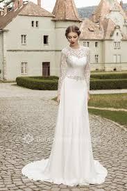 Chiffon Wedding Dresses A Line Long Sleeve Chiffon Wedding Dresses 2017 Lace Up Beadings
