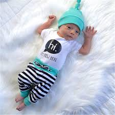 3pcs newborn baby boys t shirt rompers striped hats
