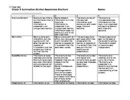 brochure rubric template grade 4 5 substance use and abuse brochure assignment rubric