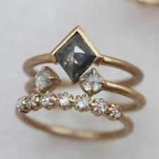 herkimer diamond and raw diamond triangle alternative engagement