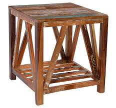 reclaimed wood end table peyton reclaimed wood end table