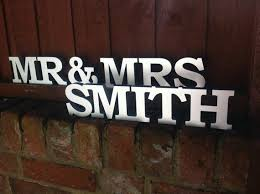 personalised mr and mrs letters stand up wooden letters