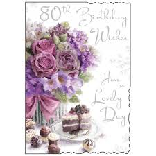 happy 80th birthday card roses and cake design co uk