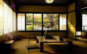 japanese living room ideas sliding door beside balcony vases