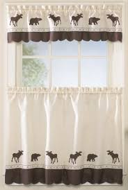 Cabin Style Curtains Moose Curtain Lined Valance Rustic Cabin Decor Lodge