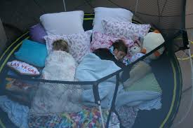 trampoline sleepover grab some blankets and pillows and sleep