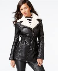 guess faux fur collar quilted faux leather jacket in black lyst