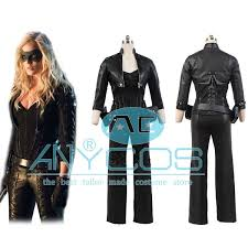 Black Leather Halloween Costumes Green Arrow Black Canary Sara Lance Artificial Leather