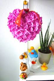 Home Decoration With Paper Cute Beautiful Rose Heart Bouquet Pink Handmade Paper Quilling