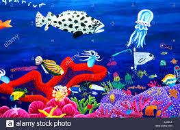 barcelona art fish painting port aquarium sea fish stock photo