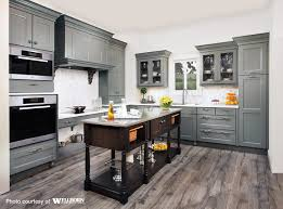 Hardwood Floor Kitchen by Maple Cabinets Stained In A Rich Grey Tone Complemented By A