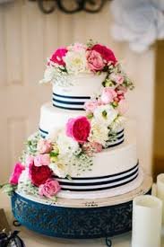 navy blue and white striped ribbon design w 0506 butter wedding cake 12 9 6 serves 100