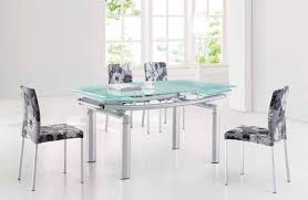 Dining Room Sets Las Vegas by Extendable Frosted Glass Top Fabric Seats Modern Dining Set With