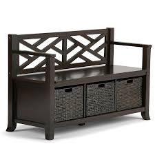amazon com simpli home adrien entryway storage bench espresso